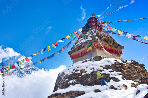 Wall Murals Nepal Buddhist stupa in mountains. Everest region, Nepal