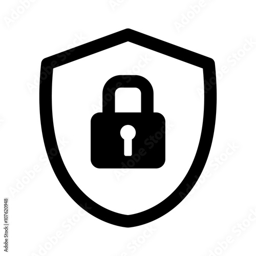 Security shield or virus shield lock line art icon for apps and websites Wall mural