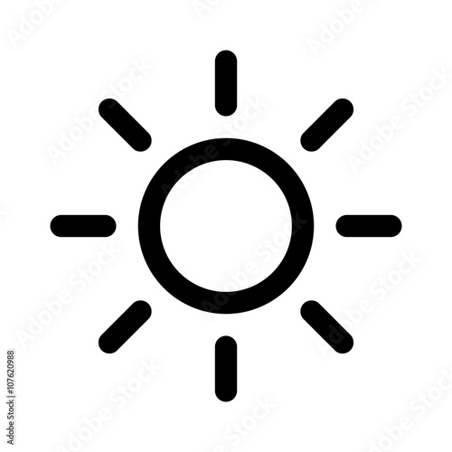 Photo Summer sun or screen brightness sun line art icon for apps and websites