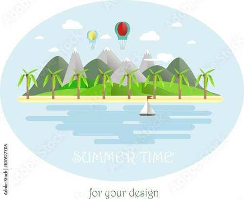 Tuinposter Lichtblauw Summer time, grey and green mountain landscape, yellow beach, palms, blue sky, sea, white cloud. Modern flat design, design element, vector