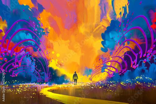 Photo man walking to abstract colorful landscape,illustration painting
