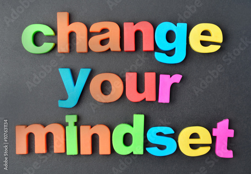 Change your mindset words on background Wallpaper Mural