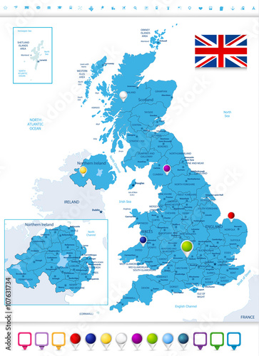 Political Map Of Great Britain.Great Britain Political Map With Map Pointers Buy This Stock