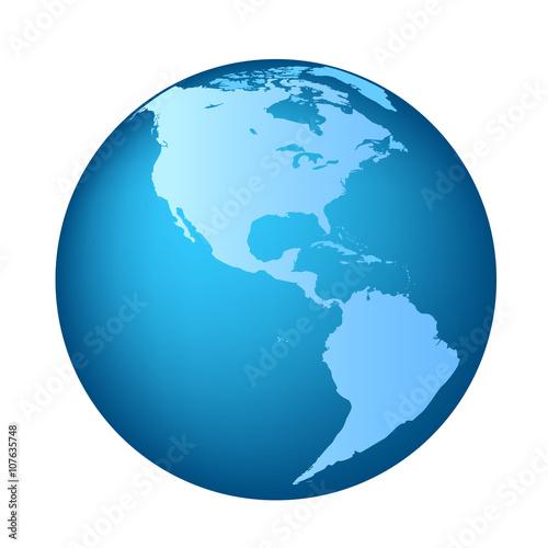 Fotografie, Obraz  Globe with Americas