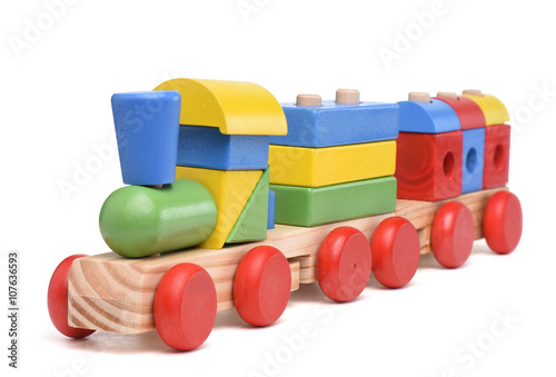 Fotografie, Obraz  Colorful wooden toy train isolated on white background