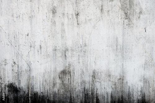 Fotografie, Obraz  汚れたコンクリートの白い壁