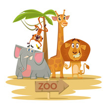 Zoo. Vector Flat Cartoon Illus...