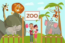Happy Family In Zoo. Vector Fl...