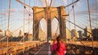 famous walking road on brooklyn bridge 4k time lapse from new york