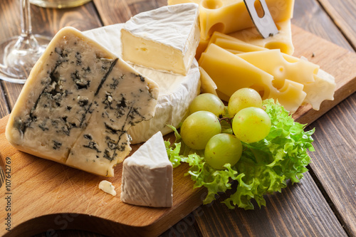 Set of different cheeses Canvas Print