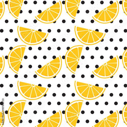 Lemon Pattern On Polka Dot Background Wallpaper Design Print