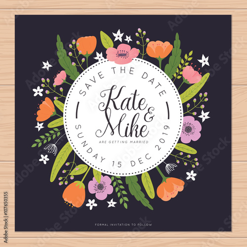 Save The Date Wedding Invitation Card With Flower Templates