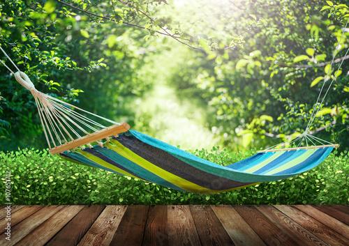 Relaxing on hammock in garden Poster