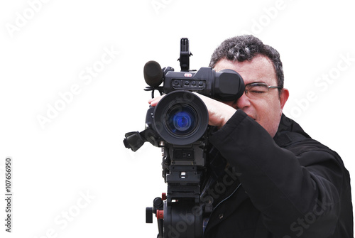 Fotografie, Obraz  Videographer with camera isolated on white