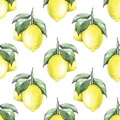 Fototapeta Lemons. Watercolor seamless pattern 1
