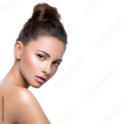 Obraz na plátne  Beautiful girl with perfect skin