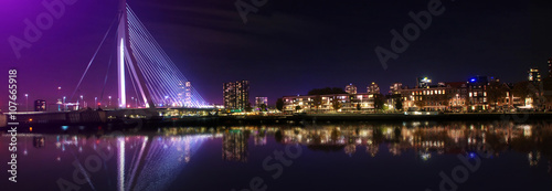 Foto op Plexiglas Rotterdam Beautiful night cityscape of Rotterdam, Netherlands