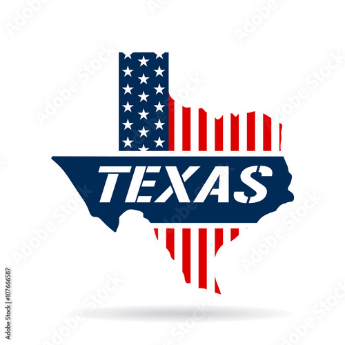 Fotografie, Obraz  Texas patriotic map. Vector graphic design illustration
