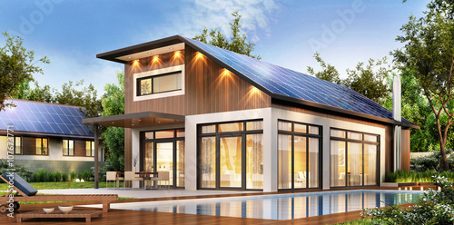 Modern house with solar panels on the roof buy this for Modern korean house architecture