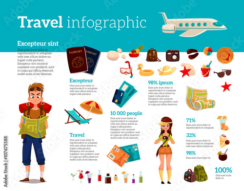 Fotografia  Infographics with travel concept summer vacation on the beach, tourists go hikin