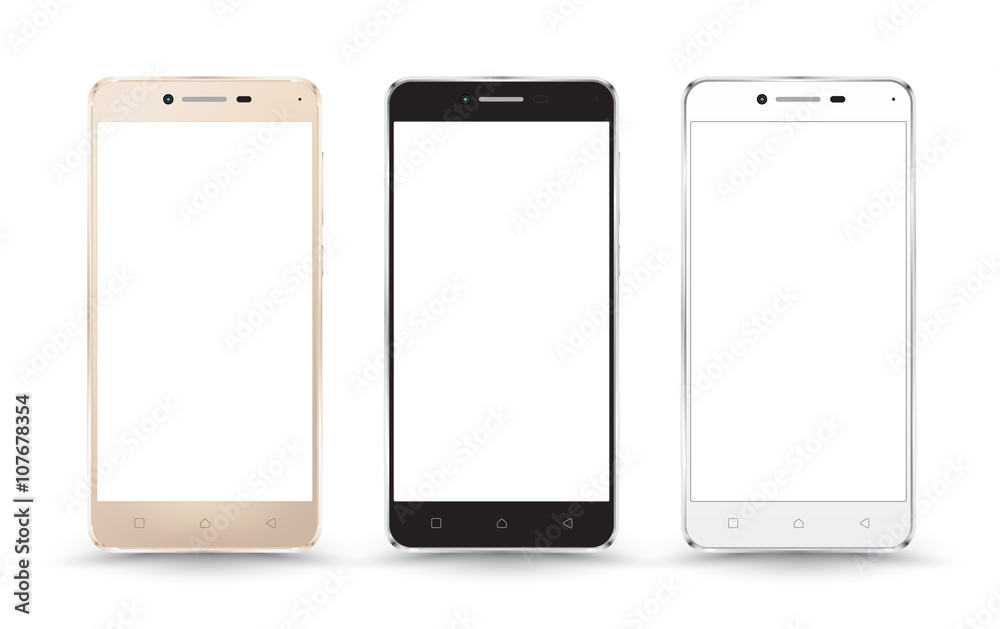 Fototapeta New realistic mobile phone smartphone collection mockups with blank screen isolated on white background. Vector illustration. for printing and web element, Game and application mockup.