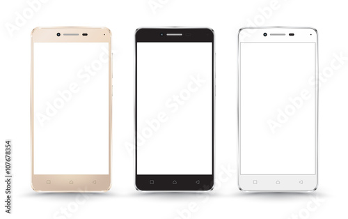 New realistic mobile phone smartphone collection mockups with blank screen isolated on white background Canvas Print