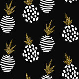 Glitter scandinavian striped pineapple ornament. Vector black gold seamless pattern collection. Modern shimmer details stylish texture. - 107679386