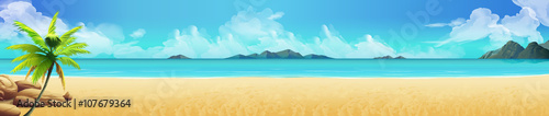 Sea panorama. Tropical beach. Vector background