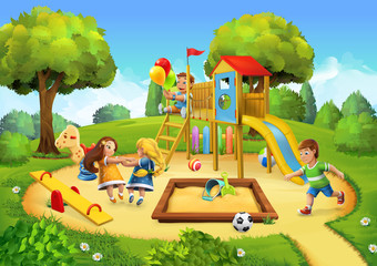 Naklejka Park, playground vector background