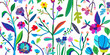 Horizontal banner with beautiful flowers. Vector floral header