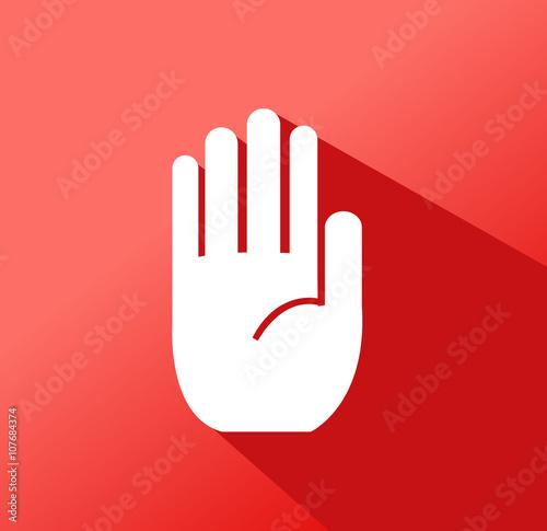 Fotografie, Obraz  No entry hand sign on white background