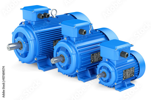 Fotografie, Tablou  Group of blue electric industrial motors. Isolated on white back