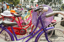 Colorful Bicycles Lined Up For...