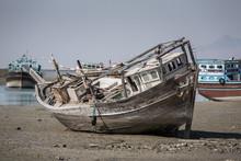 Old Abandoned Wooden Boat In Bandare Loft Village On Qeshm Islan