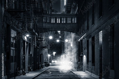 Tuinposter New York Moody monochrome view of Staple street skybridge by night, in Tribeca, New York City