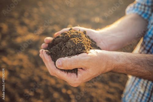 Photo  Farmer holding pile of arable soil in hands