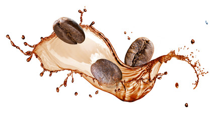 Fototapeta Coffee beans with splash isolated on white
