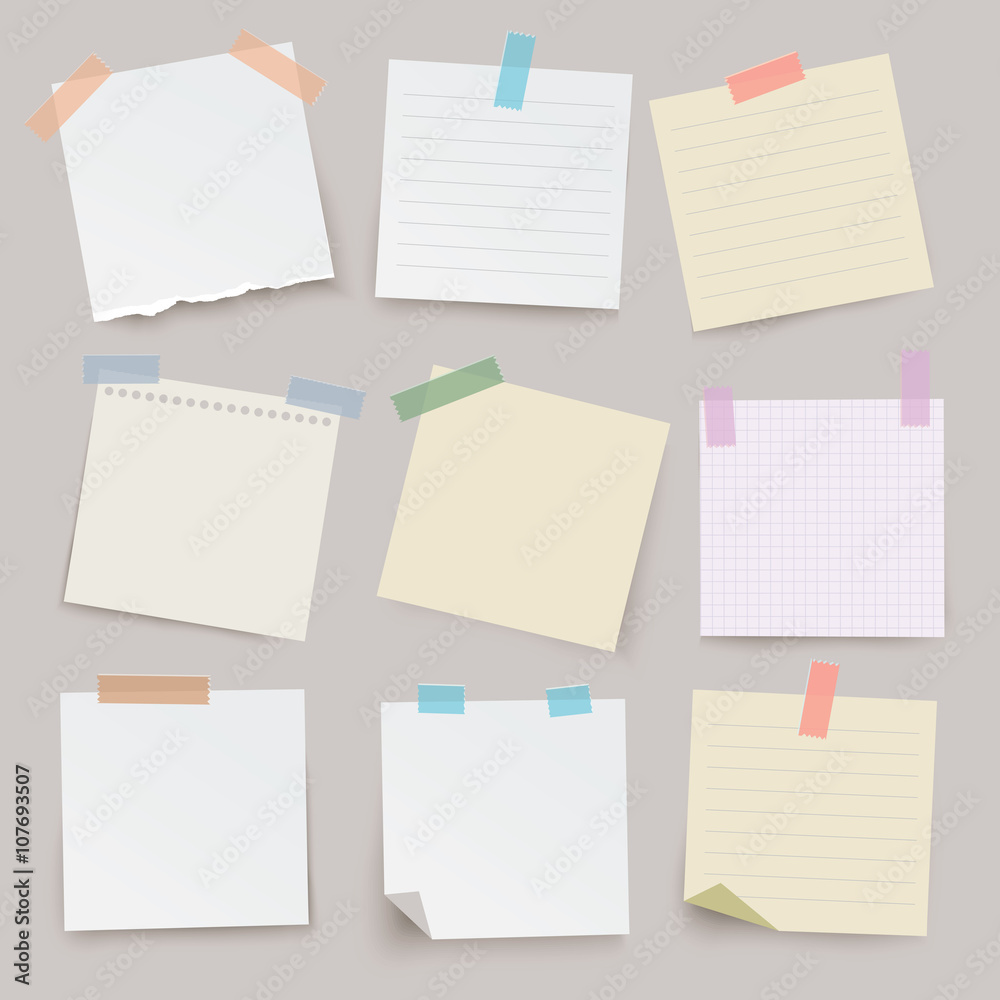 Fototapeta Set of different vector note papers.