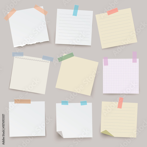 Set of different vector note papers. Fototapeta