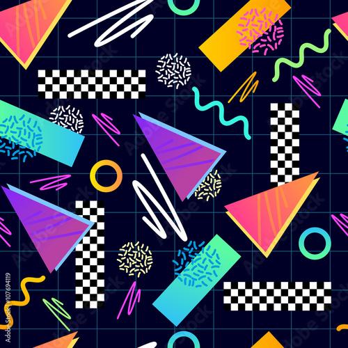 Fotografia  Eighties Seamless Pattern Vector