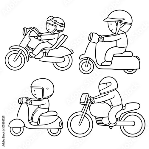 Photo  vector set of riding motorcycle