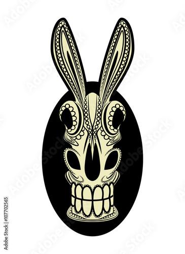 El Burro Dia de los Muertos Donkey Skull Vector Canvas Print