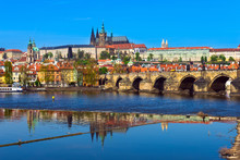 Charles Bridge (Karluv Most) And Prague Castle, Czech Republic