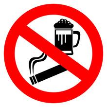 No Alcohol And Smoking Sign