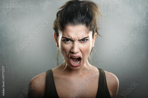 Obraz na plátně Scream of rozzlobený naštvaná žena