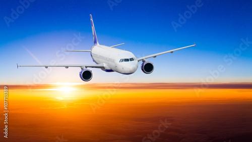 Poster Airplane Sunset scene. Aircraft Sunset. airplane at sunset