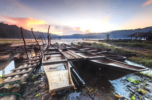 Fotografia  Traditional boats at Lake Tamblingan in Bali, Indonesia