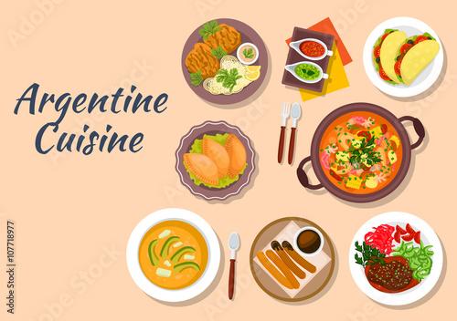 Argentine cuisine with cazuela and seafood, empanadas and tortillas, soup locro Canvas Print