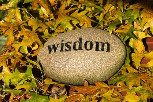 Fotografía  Wisdom Rock with Engraved Letters