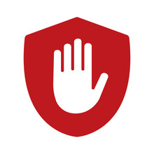 Shield With Hand Block / Adblock Flat Icon For Apps And Websites